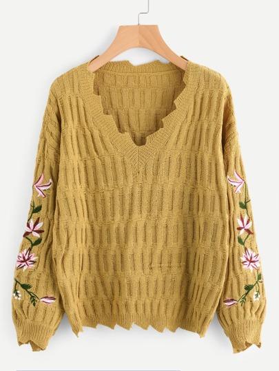 Maglione con maniche ricamate