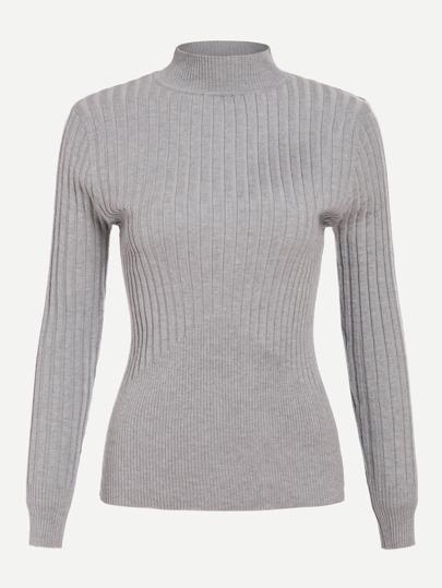 Suéter tejido de canalé de cuello redondo
