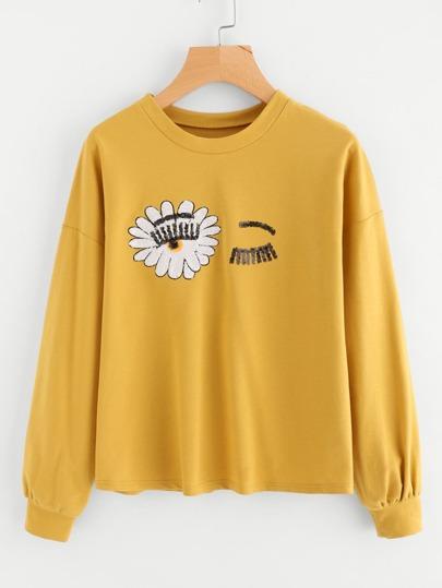 Sequin Wink Eye Sweatshirt