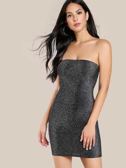 Glitter Strapless Bodycon Dress BLACK SILVER