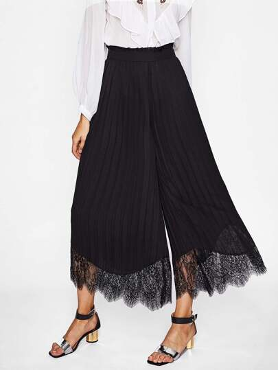 Lace Hem Pleated Wide Leg Pants