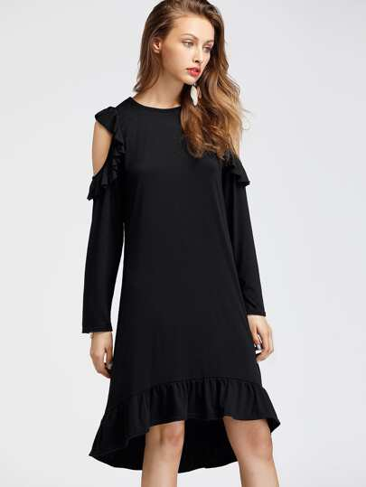Open Shoulder Frill Trim Tee Dress