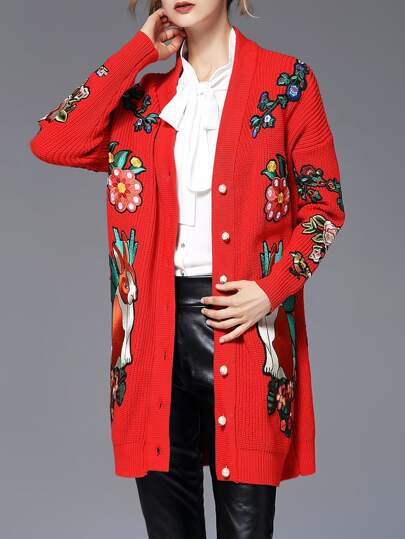 Flowers Tiger Embroidered Button Cardigan