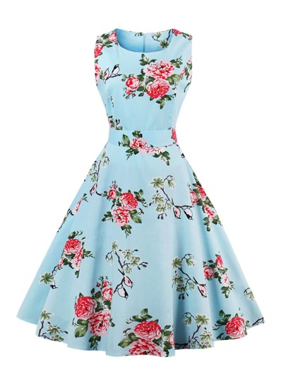 Vestido círculo de espalda con lazo con estampado floral al azar