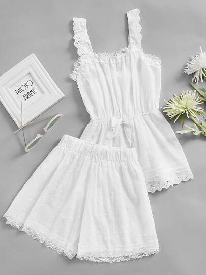 Eyelet Embroidered Lace Trim Dot Jacquard Pajama Set