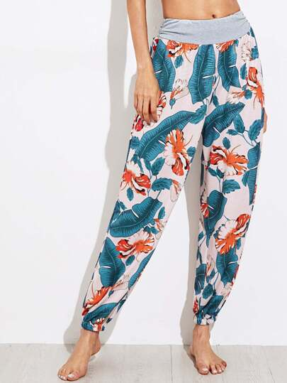 Contrast Marled Waist Jungle Print Harem Pants