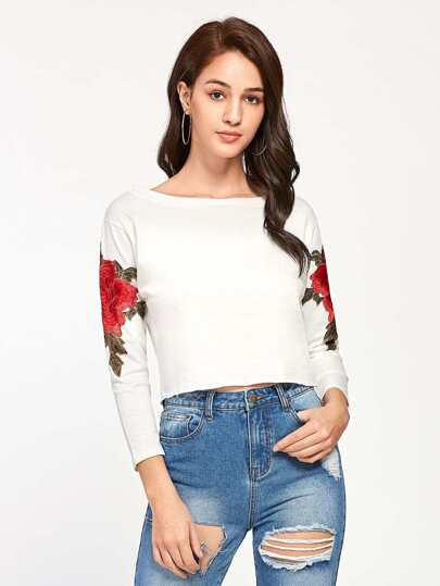 Embroidered Appliques Raw Hem Crop Tee