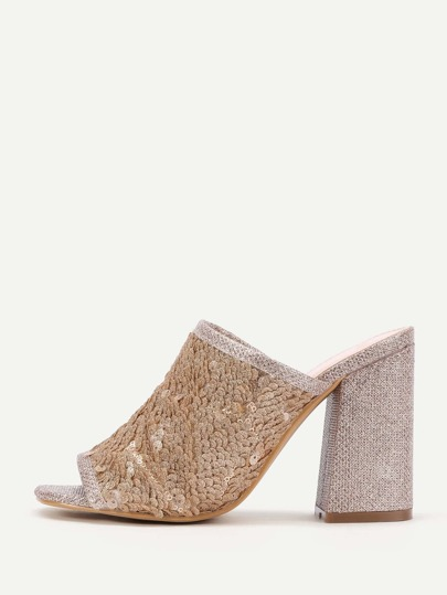 Sequin Overlay Block Heeled Mule Sandals