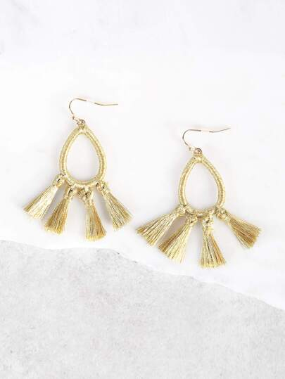 O Ring Tassel Earrings GOLD
