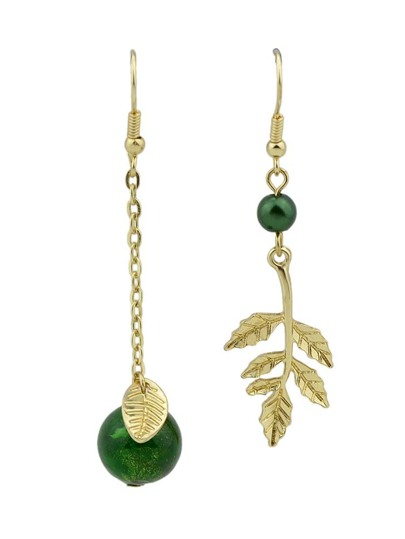 Green Color Gem Leaves Asymmetric Earrings