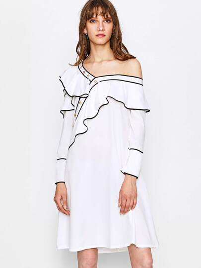 Contrast Trim Oblique Shoulder Frill Dress