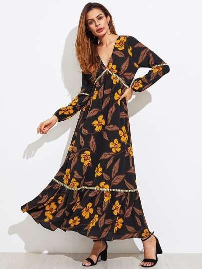Dot Crochet Insert Flower Print Tiered Hem Dress