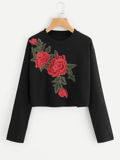 Sweat-shirt côtelé avec des appliques des roses