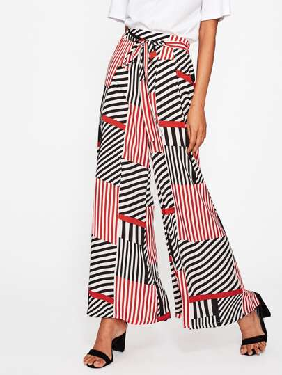 Patchwork Print Overlap Wide Leg Pants