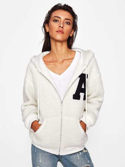 A Applique Zip Up Fluffy Hoodie