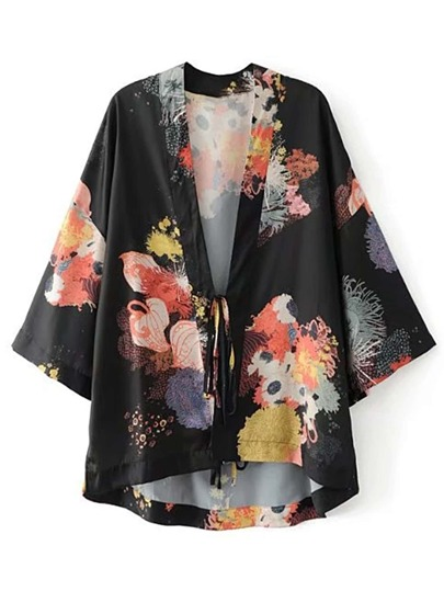 Drop Shoulder Seam Lace Up Detail Kimono