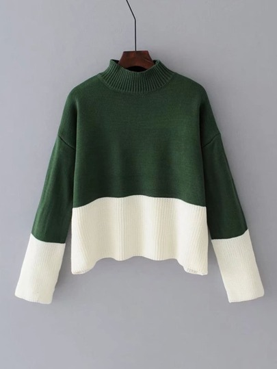 Zweifarbiger gerippter Pullover