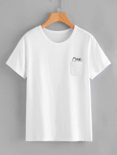 Camiseta con estampado de juramento de meñique