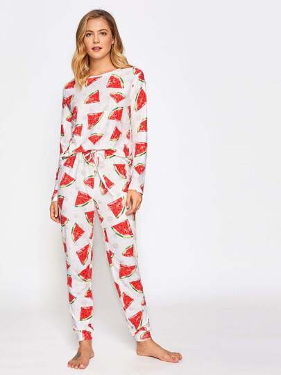Allover Watermelon Print Top And Drawstring Pants Pajama Set