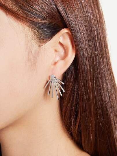 Metal Rays Shaped Ear Jacket 2pcs