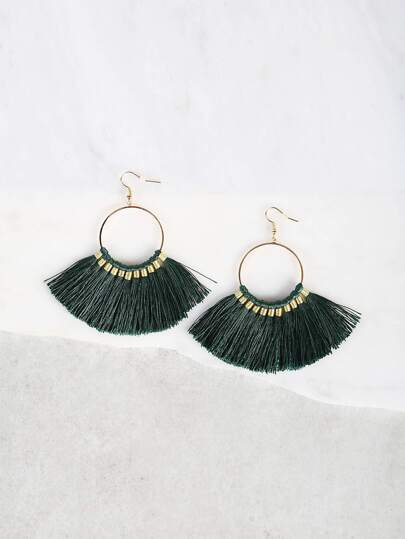 Fish Hook Tassel Earrings GREEN