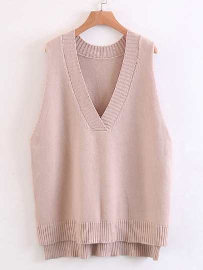 V Neckline High Low Ribbed Knit Vest