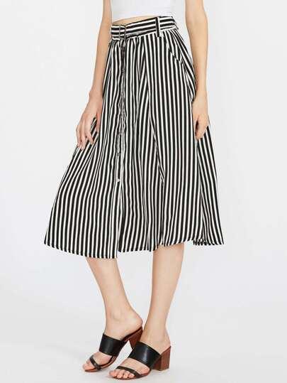 Contrast Vertical Striped Skirt