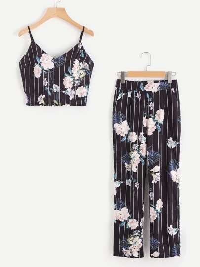 Striped Floral Crop Cami And Pants Set