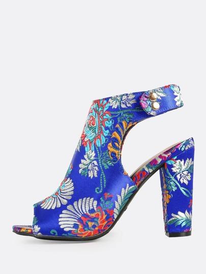 Colorful Oriental Peep Toe Heels BLUE