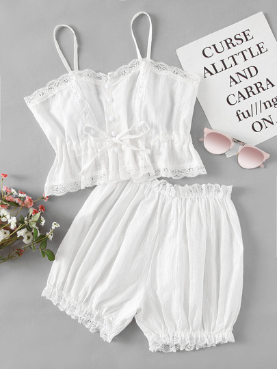 Elastic Waist Lace Trim Pajama Set