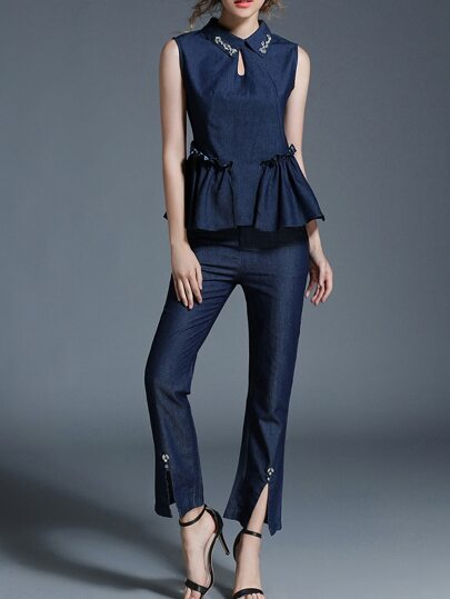 Beading Neck Hollow Peplum Top With Pants