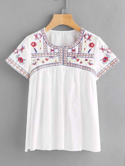 Aztec Embroidery Babydoll Blouse