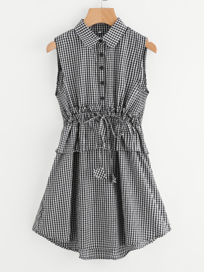 Half Placket Flounce Trim Gingham Dress