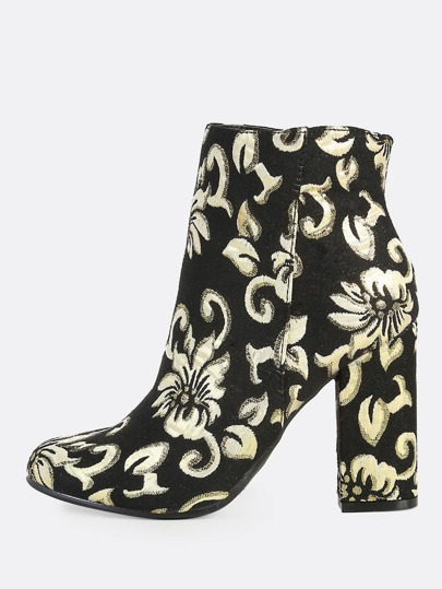 Gold Floral Print Zip Up Booties BLACK GOLD