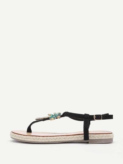 Rhinestone Pineapple & Palm Tree Design Flat Sandals