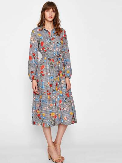 Self Tie Mixed Print Fit & Flare Shirt Dress