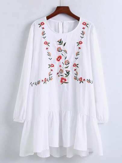 Flower Embroidery Drop Waist Dress