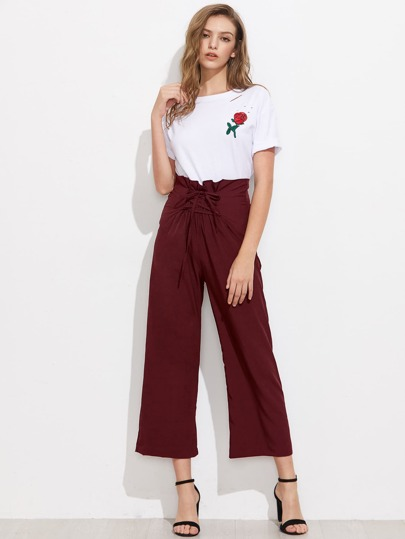Lace Up Waist Wide Leg Pants