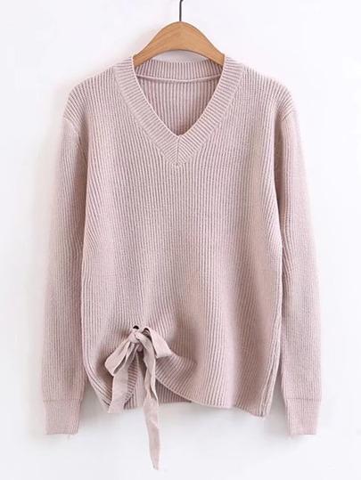 Ribbed Trim Knot Hem Sweater
