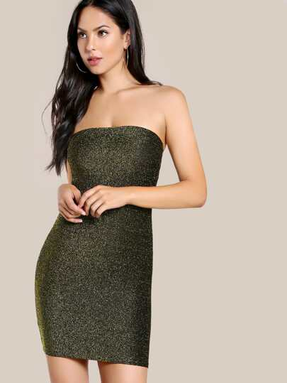 Sparkle Strapless Bodycon Dress BLACK GOLD
