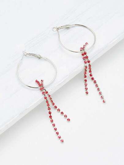 Rhinestone Chain Design Hoop Earrings
