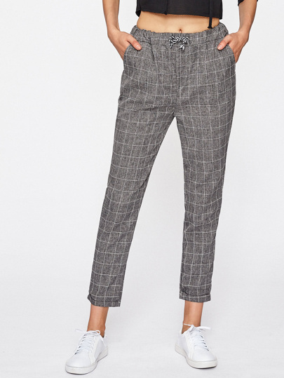 Checked Drawstring Waist Pants