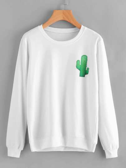 Sweat-shirt imprimé cactus