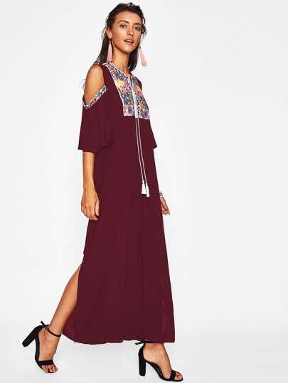 Aztec Embroidered Open Shoulder Tassel Tie Neck Dress