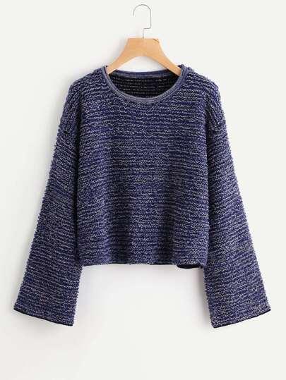 Drop Shoulder Marled Knit Fluffy Jumper