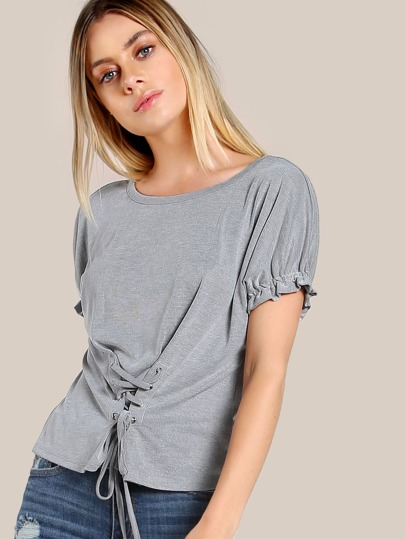 Front Lace Up Top GREY