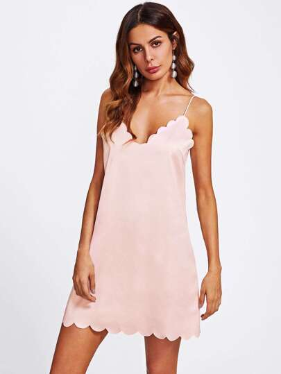Scallop Trim Dual V Neck Cami Nightdress