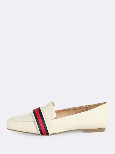 Striped Loafer Style Flats IVORY