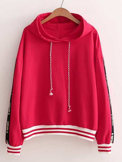 Tape Side Drop Shoulder Drawstring Hooded Sweatshirt