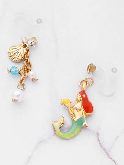 Mermaid And Faux Pearl Design Mismatch Earrings